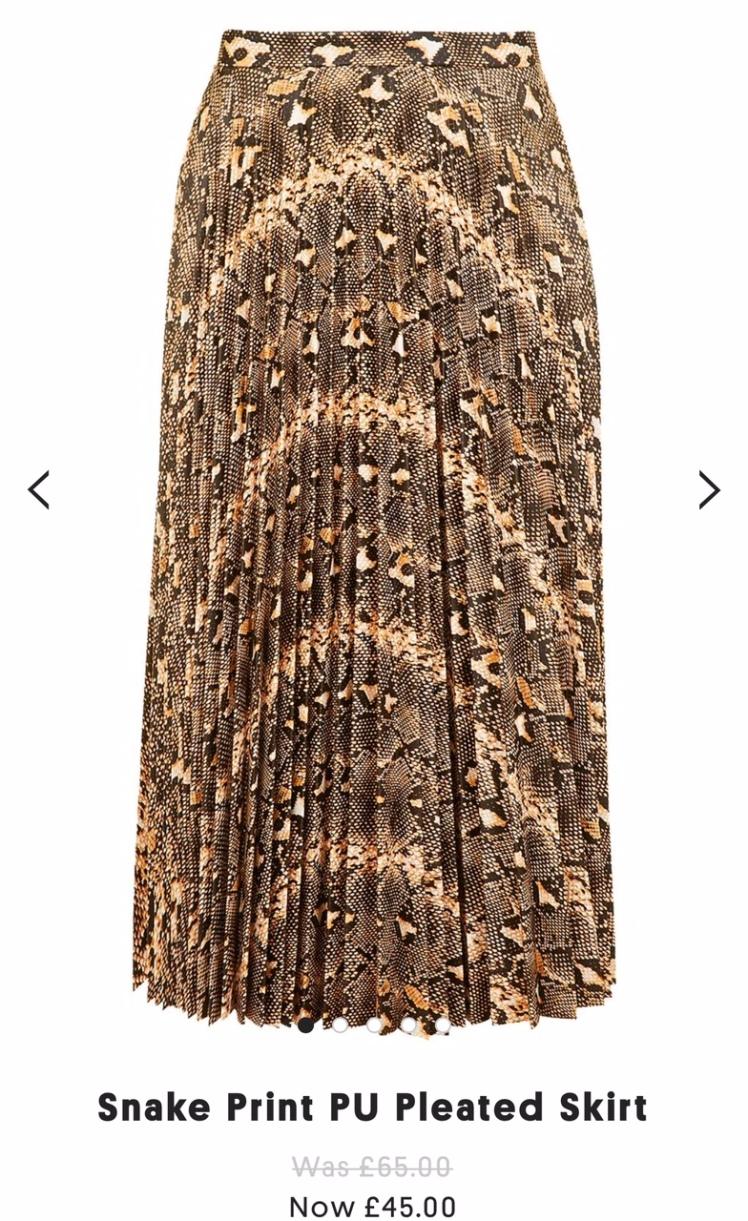 snake-print-pu-pleated-skirt