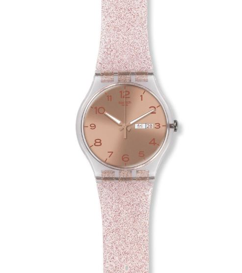 Pink rose gold swatch watch