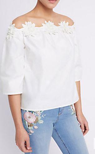 pure cotton bardot white top