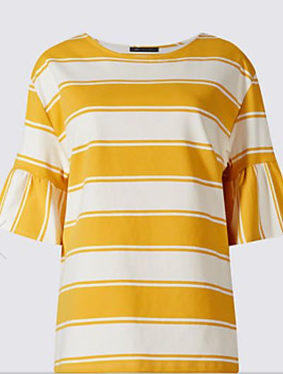 stripped flared sleeve top