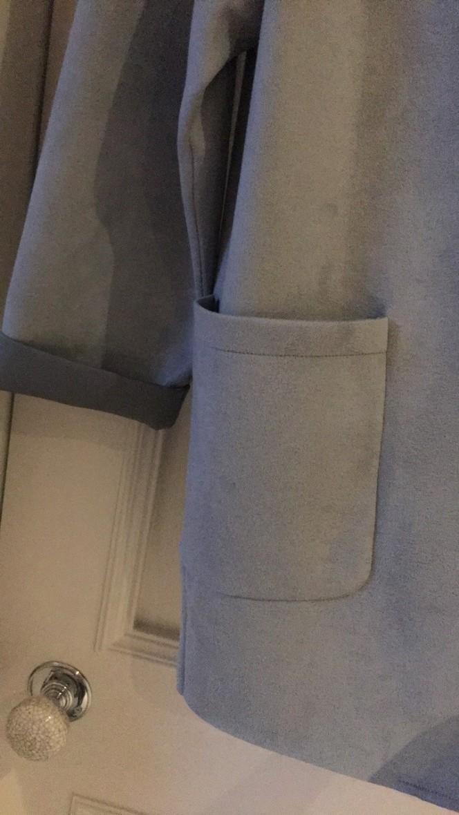 blue suede coat