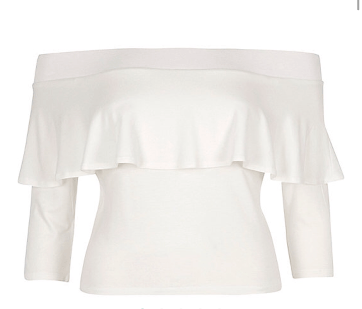 cream bardot top